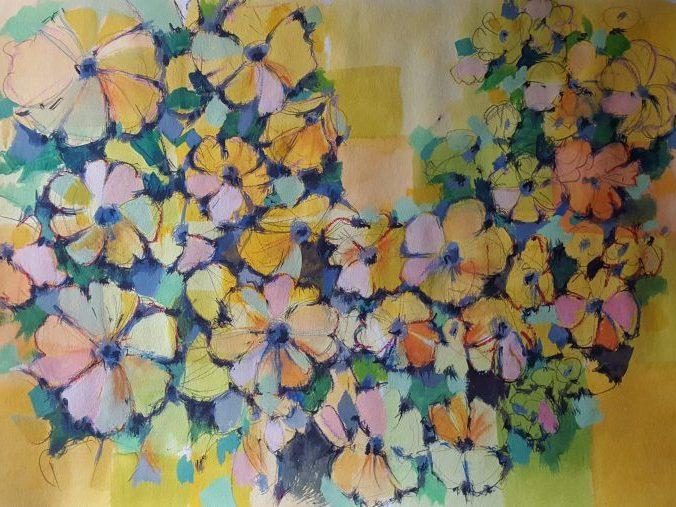 Reisch.Art: abstract.flowers 2017, Mixmedia , Goouache/Crayon Paper 100x70cm