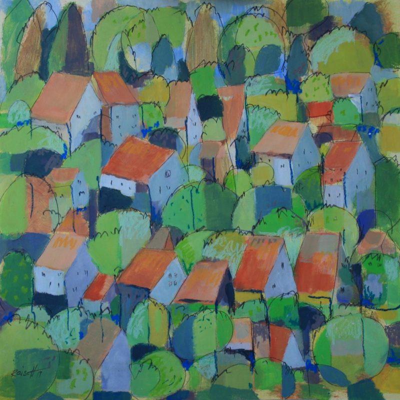 Reisch.Art: Landschaft rot/grün / Landscape red/green