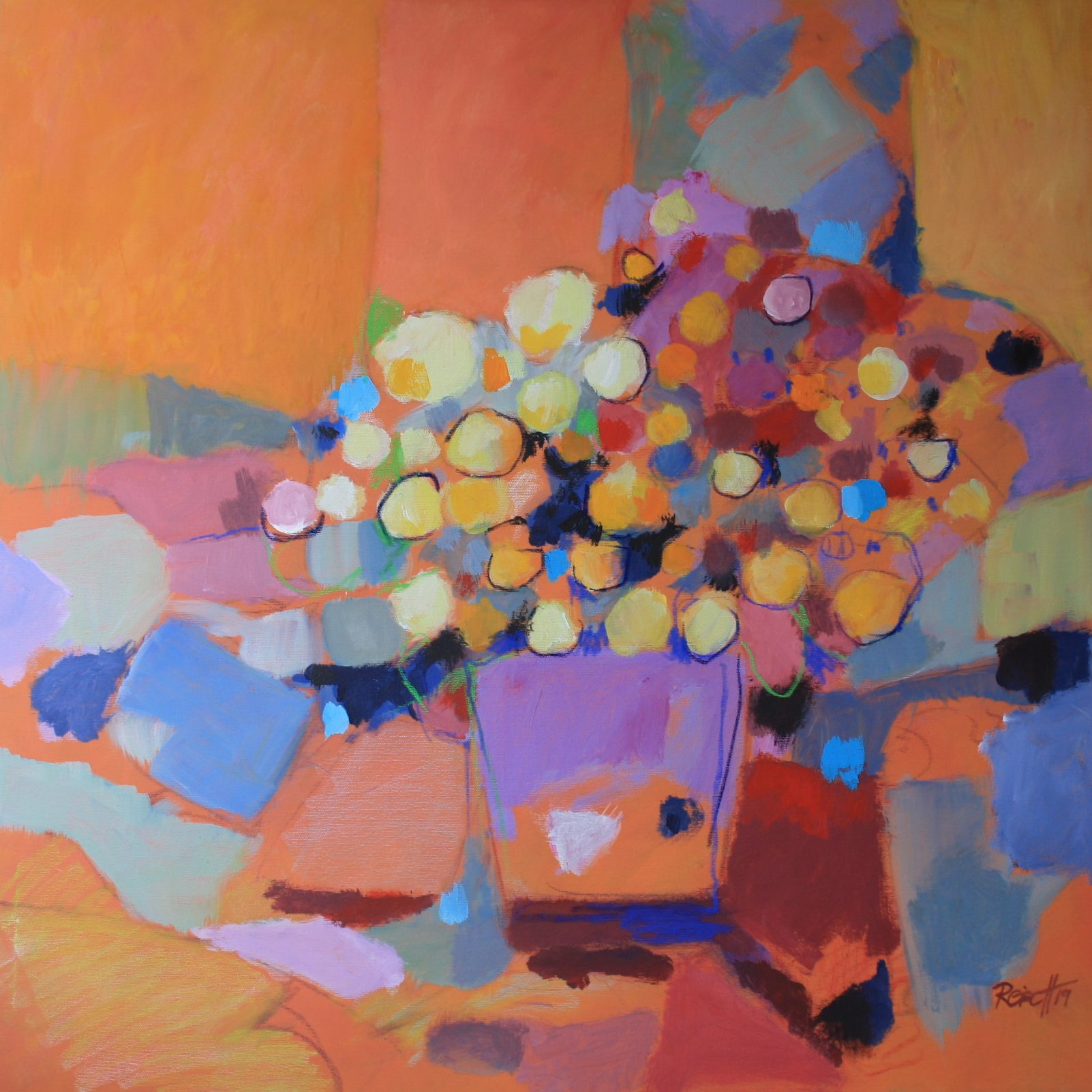 Reisch.Art: Blumen orange/violett Flowers orange/purple